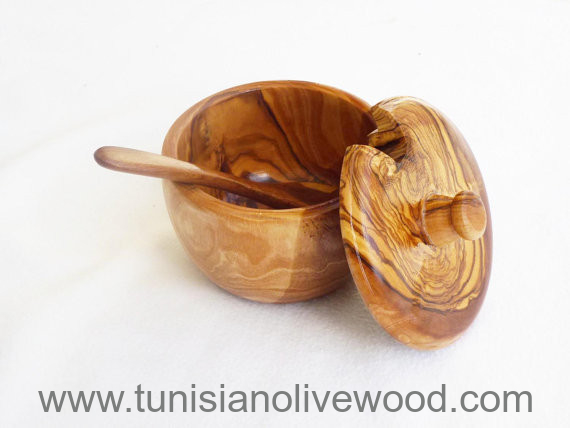 olive wood spice, sugar, salt, pepper, box keeper