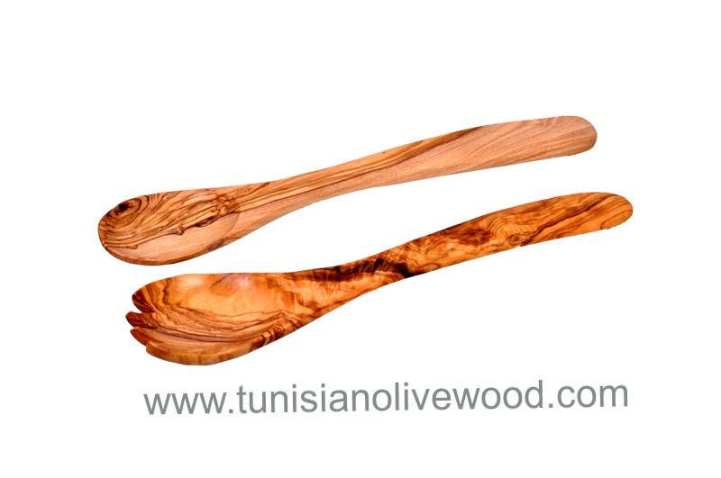 Tunisian handcrafted Olive Wood Salad Servers set