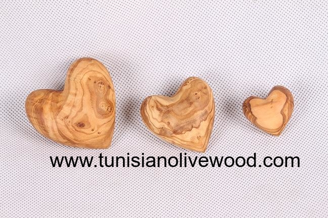 Tunisian Olive Wood Carved Heart