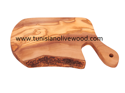 Olive Wood Rustic oval Cutting Board with Unique Design Handle