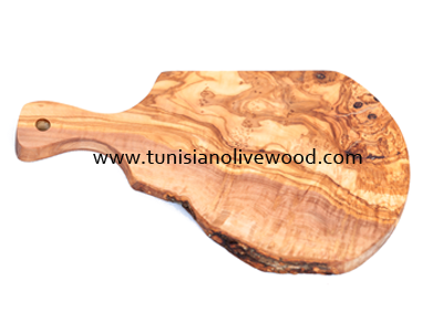 Olive Wood RusticOval Cutting Board with Unique Design Handle