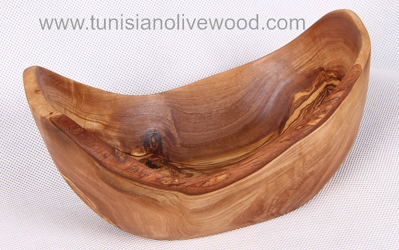 Olive wood salad fruit oval bowl with natural edge