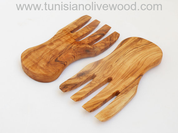 Olive Wood serving hands salad mixing from Tunisia