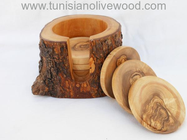 OLIVE WOOD COASTERS IN A NATURAL BARK HOLDER -SET OF 6