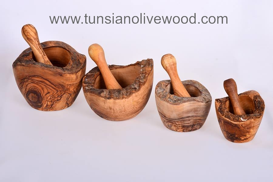 Olive Wood Tunisian Rustic Mortar and Pestle with natural edge.
