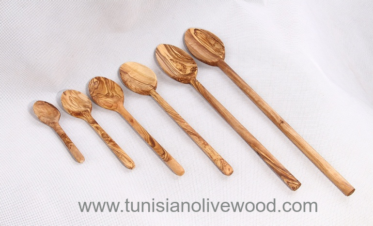 Tunsian olive wood Spoons with Round handles