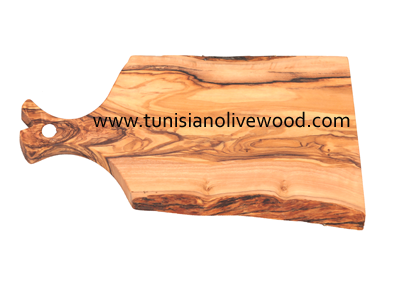 OLIVE WOOD  RECTANGULAR SERVING BOARD WITH HANDLE