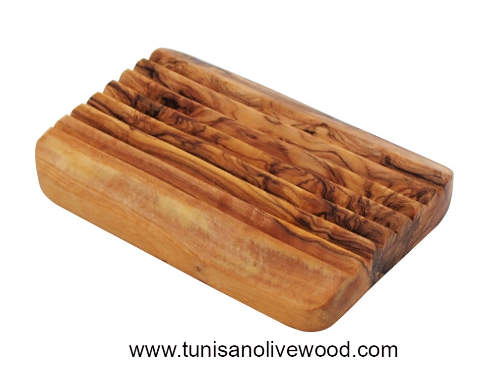 Olive Wood Rectangular Soap Dish