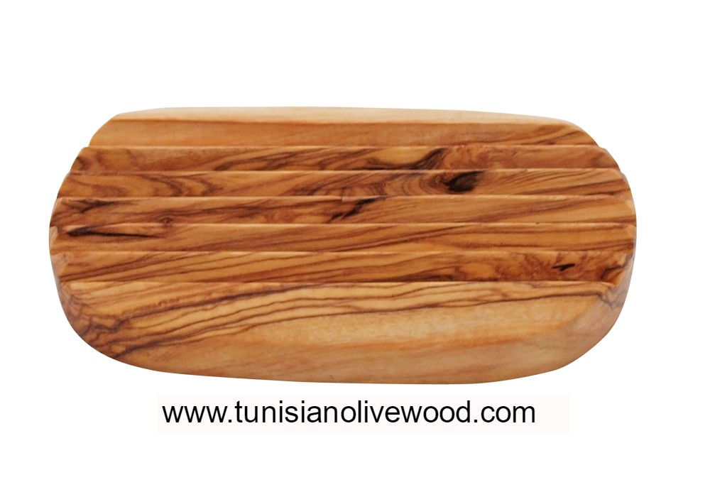 Round olive wood Soap dish with Groove