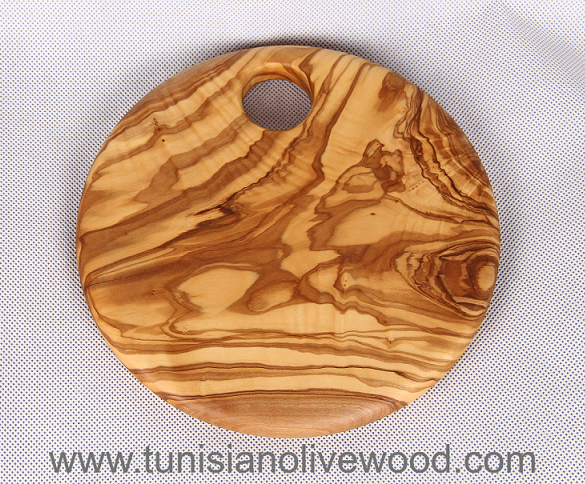 Round Olive wood Cutting Board or Trivet with Hole: