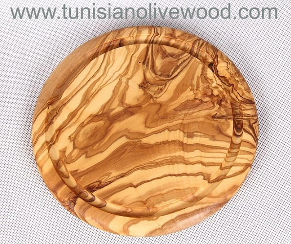 Round Olive Wood Cutting Boards with Groove