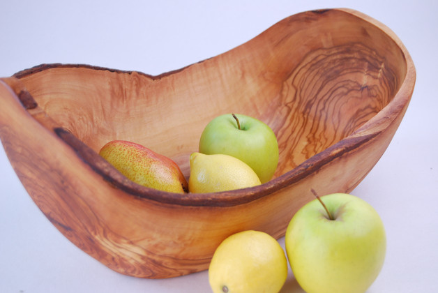 Olive wood fruit salad bowl hand made in tunisia