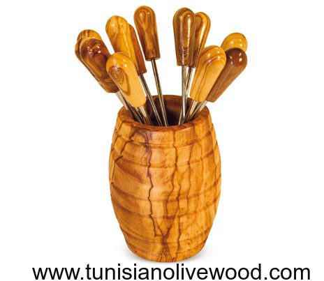 olive wood toothpick/fork holder Pot