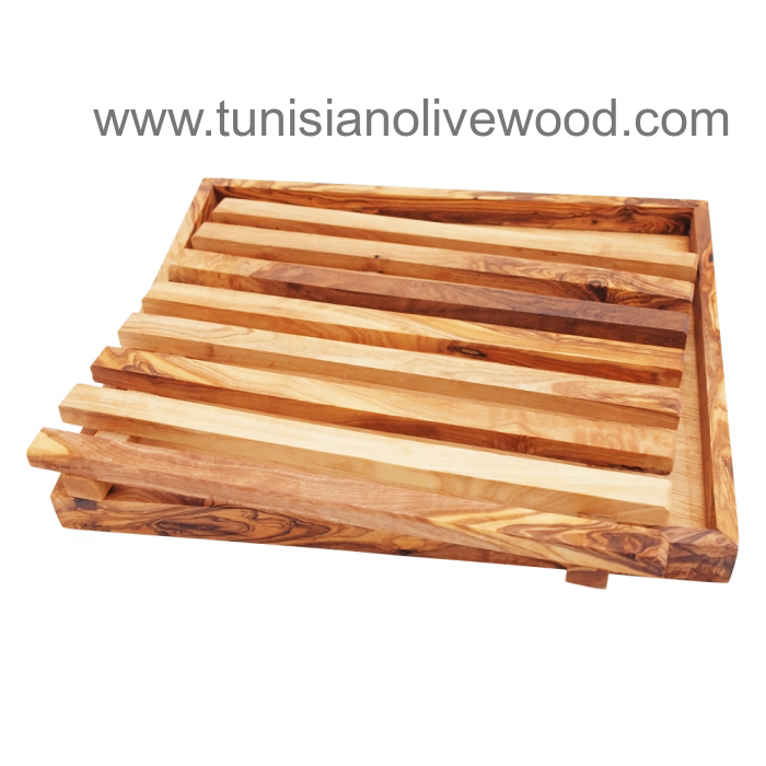 Olive Wood Bread Cutting Board and Crumb Tray from Tunisia