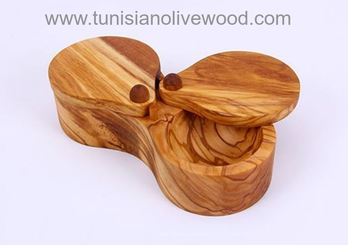 Olive Wood dual compartment Salt Keeper
