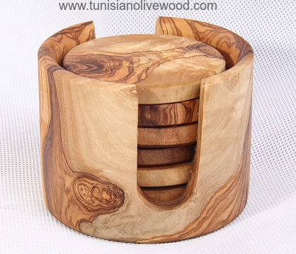 Olive Wood Coasters in holder set of 6 -Tunisia