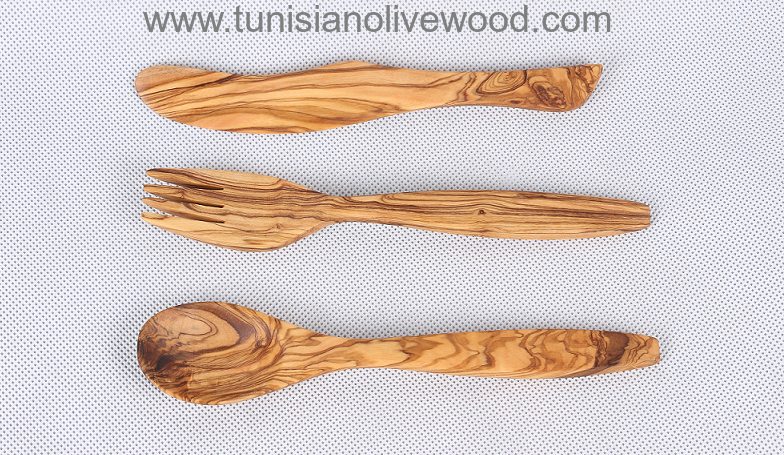 olivewood Flatware Fork Knife and Spoon -20cm