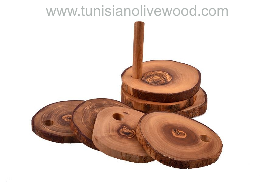 Olive Wood Coasters Set of 6 and Holder