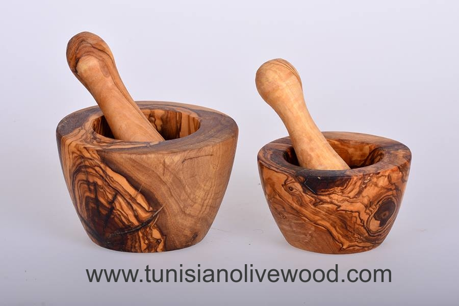 A Beautiful and functional Olive Wood Tunisian Flat Mortar and Pestle
