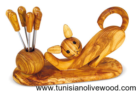 Cat Shape Olive wood Fork holders