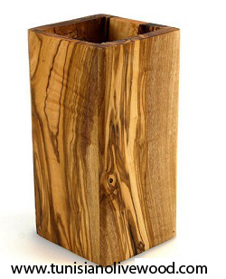 Olive Wood Rectangle Utensil Holder