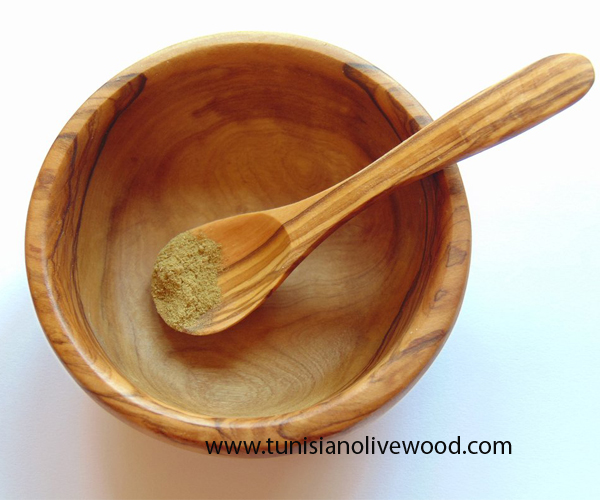 Olive Wood Small Bowl And Spoon