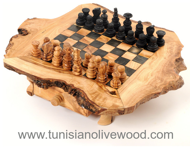 Natural Olive Wood Chess Board Handmade in Tunisia