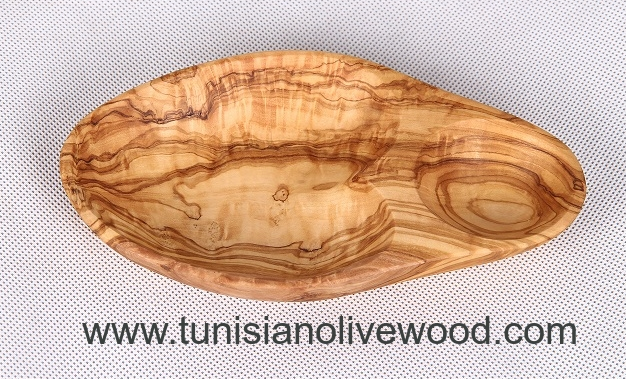 Tunisian Olive wood dishes olive shape dish