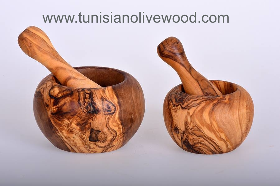 Handmade Olive Wood Tunisian round Mortar and Pestle