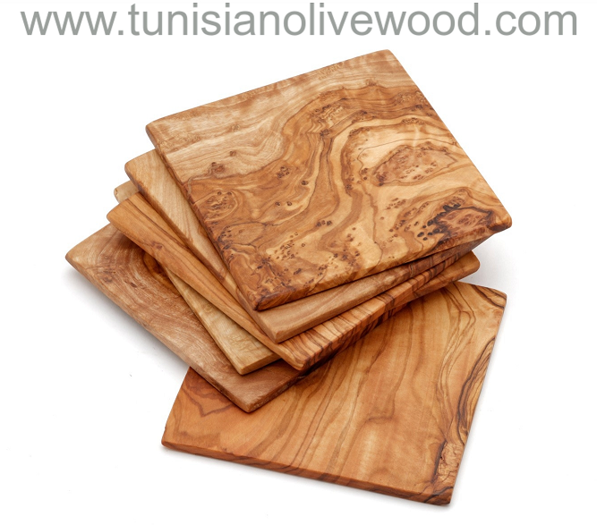 Handcarved olive wood square coasters From Tunisia